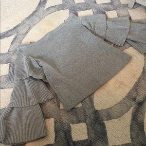 Grey ruffle bell sleeve sweater